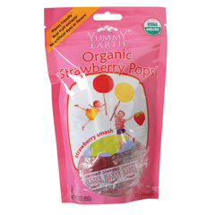 BFG38598 - Yummy EarthStrawberry Smash Lollipops, Stand Up Pouch