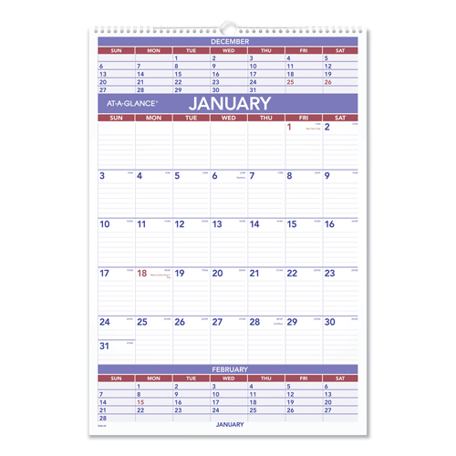 ... : AT-A-GLANCE® Three-Month Wall Calendar - At A Glance AAGPM628