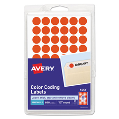 AVE05051 - Avery® Removable Self-Adhesive Round Color-Coding Labels