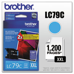 BRTLC79C - Brother LC79C (LC-79C) Innobella Super High-Yield Ink, 1,200 Page-Yield, Cyan