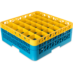 CFSRG36-2C411CS - CarlisleOpticlean 36-Compartment with 2 Extenders - Yellow-Carlisle Blue