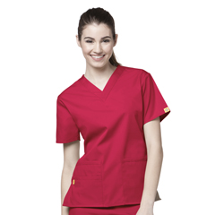 CID6016A-RED-MD - WonderWinkBravo - 5-Pocket V-Neck Top