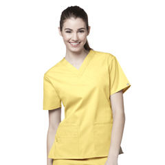 CID6016A-YLW-XXS - WonderWinkBravo - 5-Pocket V-Neck Top