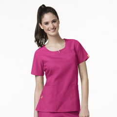 CID6046A-HPK-MD - WonderWinkRound Neck Chest Pocket Top