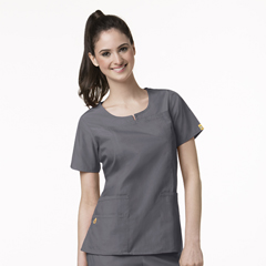 CID6046A-PEW-SM - WonderWinkRound Neck Chest Pocket Top