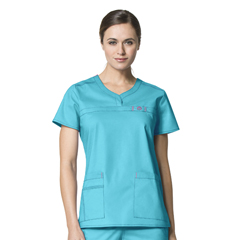 CID6208A-AQU-MD - WonderWinkPatience Curved Notch Neck Top