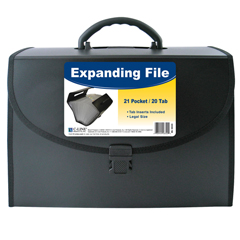CLI58320 - C-Line Products21-Pocket Legal Size Expanding File w/Handle, Black