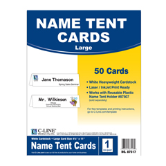 CLI87517BNDL2BX - C-Line ProductsInkjet/Laser Cardstock Name Tents, Scored, White, Large