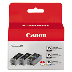 CNM1509B007 - Canon 1509B007 (CLI-36) Ink, 3/Pack, Black; Tri-Color