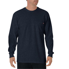 DKIWL450-DN-L - DickiesMens Long Sleeve Heavyweight Crew Neck Tee Shirts