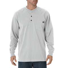 DKIWL451-AG-XL - DickiesMens Long Sleeve Heavyweight Henley Tee