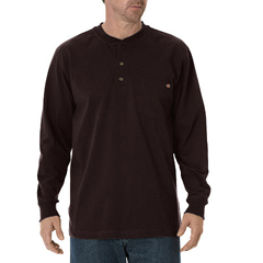 DKIWL451-CB-L - DickiesMens Long Sleeve Heavyweight Henley Tee