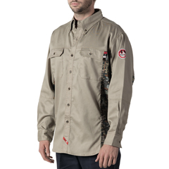 DKI56144KH9-MD-0R - Walls FRMens Flame Resistant Oilfield Camo Workshirt