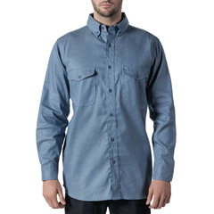 DKI56388CY9-SM-0R - Walls FRMens Flame Resistant Button-Down Chambray Workshirt