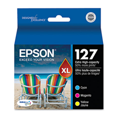 EPST127520 - Epson T127520 (127) Extra High-Yield Ink, Cyan, Magenta, Yellow, 3/Pack