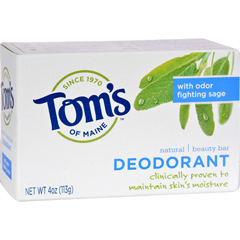 HGR0405878 - Tom's of MaineNatural Beauty Bar Deodorant with Odor Fighting Sage - 4 oz - Case of 6