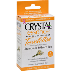 HGR0934562 - CrystalMineral Deodorant Towelettes Chamomile and Green Tea - 6 Towelettes