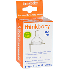 HGR1114289 - ThinkbabyStage B Nipple with Vent (6-12 Months) - 2 Pack