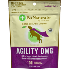 HGR1120203 - Pet Naturals of VermontAgility DMG Bone Shaped Chews for Dogs Chicken Liver - 120 Chewables