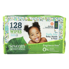 HGR1506682 - Seventh GenerationBaby Wipes - Free and Clear - Refill - 128 Count