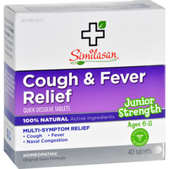HGR1554013 - SimilasanCough and Fever Relief - Junior Strength - Ages 6 to 11 - 40 Tabs