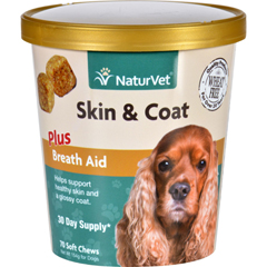 HGR1694769 - NaturvetNaturVet Skin and Coat - Plus Breath Aid - Dogs - Cup - 70 Soft Chews