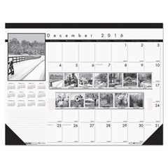 HOD122 - House of Doolittle™ Black-on-White Photo 100% Recycled Monthly Desk Pad Calendar