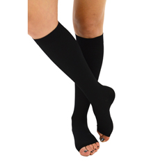 ITAIH-304-O-XLBL - Ita-MedOpen Toe Knee Highs - Black, XL