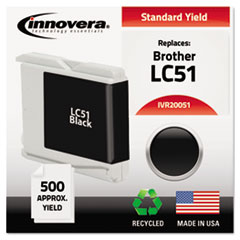 IVR20051 - Innovera Remanufactured LC51BK Ink, 500 Page-Yield, Black