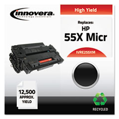 IVRE255XM - Innovera Remanufactured CE255X High-Yield MICR Toner, 125000 Page-Yield, Black