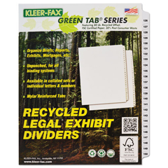KLF91906 - Kleer-Fax® 90000 Series Side Tab Legal Index Divider Set