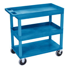 LUXEC112HD-BU - LuxorHigh Capacity 2 Tub and 1 Flat Shelf Cart