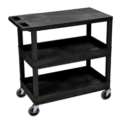 LUXEC211-B - Luxor18x32 Cart with 2 Tub Shelves and 1 Flat Shelf