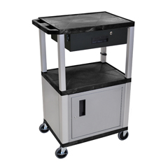 LUXWT42C4E-N-WTD - LuxorMultipurpose Utility Cart with Cabinet & Drawer