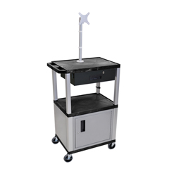 LUXWT42C4ME-N-WTD - LuxorMultipurpose Utility Cart with Cabinet, Monitor Mount & Drawer