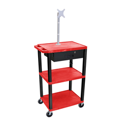 LUXWT42RME-B-WTD - LuxorMultipurpose Utility Cart with Monitor Mount & Drawer