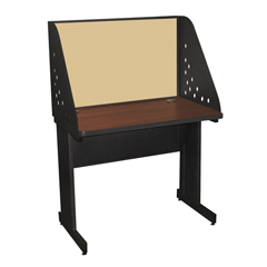 MLGPRCM0011_DT8561 - Marvel GroupPronto School Training Table w/Carrel & Modesty Panel Back, 36Wx30D - Dark Neutral/Beryl Fabric