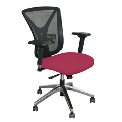 MLGWMCEXFA-F6557 - Marvel GroupExecutive Mesh Chair, Raspberry Fabric/Aluminum Base
