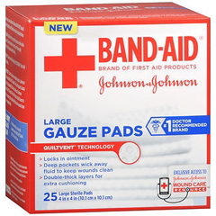 MON24812000 - Johnson & JohnsonPad Gauze Band-Aid 4X4 25/BX