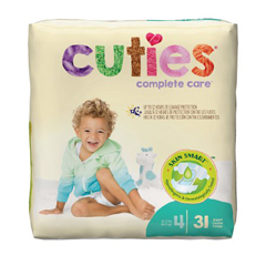 MON40043100 - First QualityDiaper Cuties® 22-37 lbs. Size 4, 31EA/PK, 4PK/CS