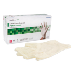 MON41421310 - McKessonExam Glove Confiderm NonSterile Powder Free Latex Textured Fingertips Ivory Small Ambidextrous