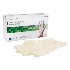 MON41481310 - McKessonExam Glove Confiderm NonSterile Powder Free Latex Textured Fingertips Ivory Large Ambidextrous