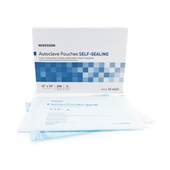 MON64221200 - McKessonSterilization Pouch McKesson EO Gas / Steam 12 X 15 Inch Transparent Blue / White Self Seal Paper / Film, 200EA/BX