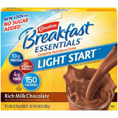 MON66112600 - Nestle Healthcare NutritionOral Supplement Carnation® Breakfast Essentials® No Sugar Added Rich Milk Chocolate 36 gm, 8EA/PK 8PK/CS