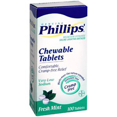 MON69932700 - BayerLaxative Phillips Mint Chewable Tablet 100 per Box 311 mg Strength Magnesium Hydroxide (2587590)