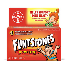 MON82842700 - BayerMultivitamin Supplement Flintstones Complete 3000 IU / 60 mg Strength Chewable Tablet 60 per Bottle