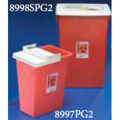 MON89972801 - MedtronicSharpSafety™ Sharps Container, PGII, Gasketed Slide Lid, Red, 8 Gallon