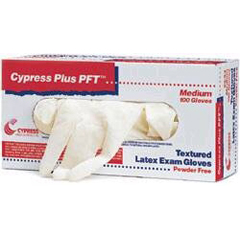 MON94231300 - CypressExam Glove Cypress Plus® PFT NonSterile Powder Free Latex Fully Textured Ivory Medium Ambidextrous, 100EA/BX