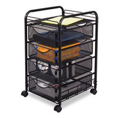 SAF5214BL - Safco® Onyx™ Mesh Mobile File with Four Supply Drawers