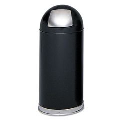 SAF9636BL - Safco® Dome Top Receptacle with Spring-Loaded Door